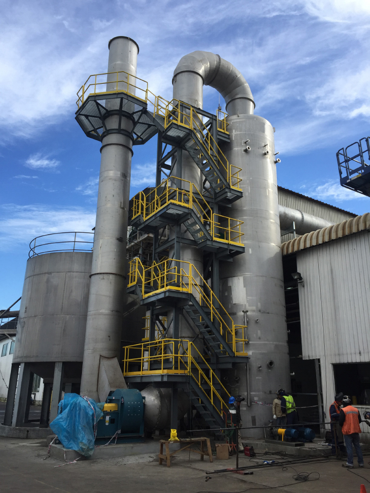Thermal Engineering | Camanchaca: Series 1000 Quencher/Series 7000 Venturi | 50,000 CFM | Oil Fired Boiler | FlyAsh and Sulfur Dioxide : Coronel, Chile