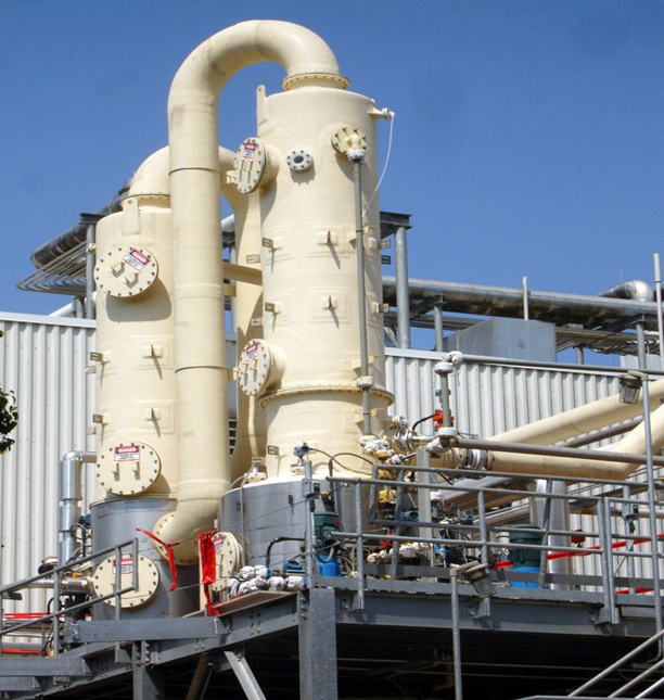 Clariant : Horizontal Quencher / Packed Tower | 35,000 CFM | Thermal Oxidizer | Hydrochloric / Hydrobromic Acids : Mount Holly, NC